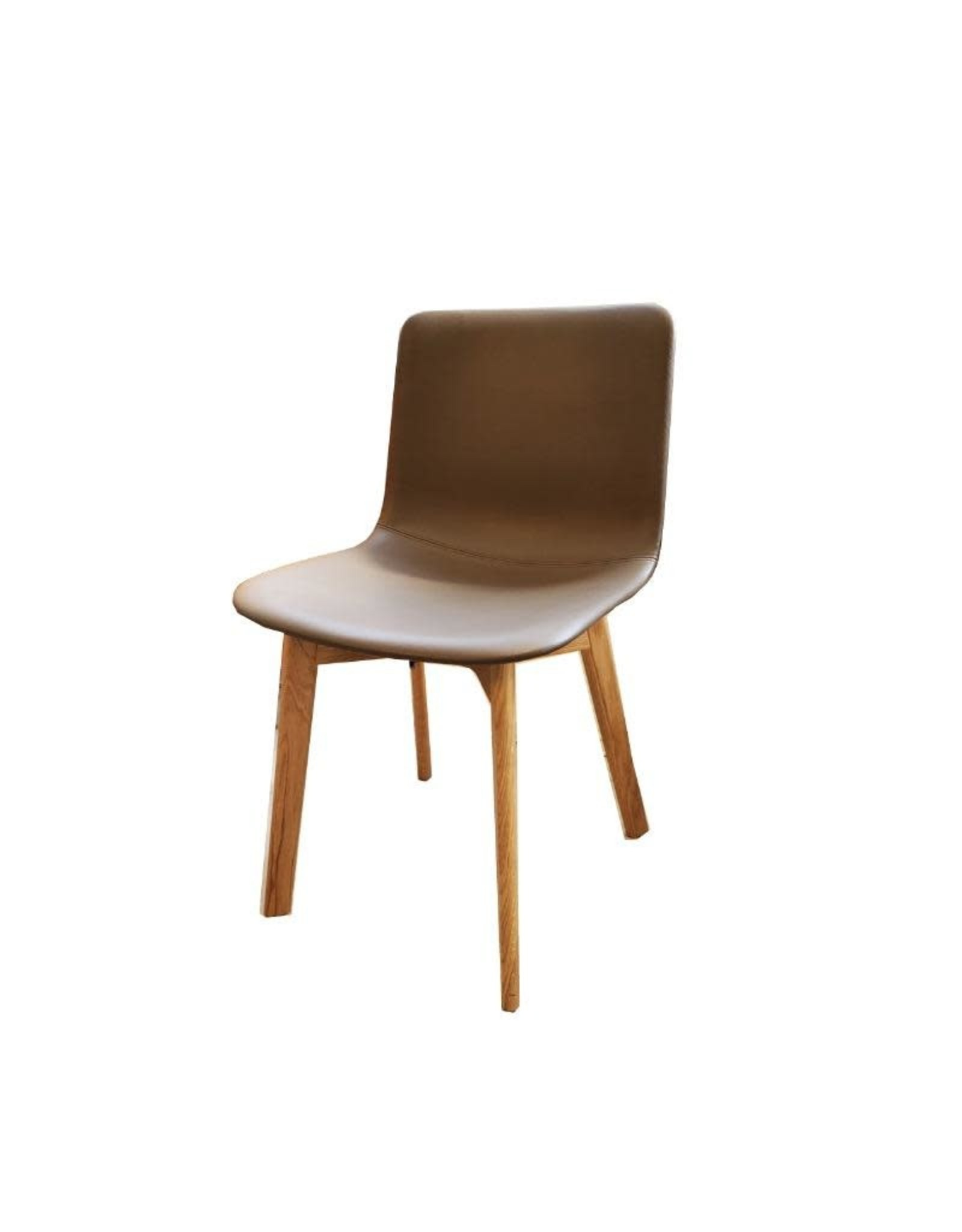 4222 PATO WOOD CHAIR, FULLY UPHOLSTERED IN GROUP 0 OMNI #320 DARK CLAY LEATHER