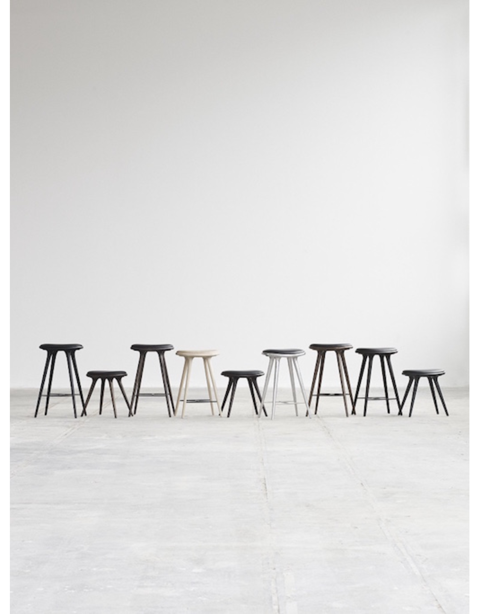 MATER ETHICAL HIGH STOOL, DARK STAINED HARDWOOD