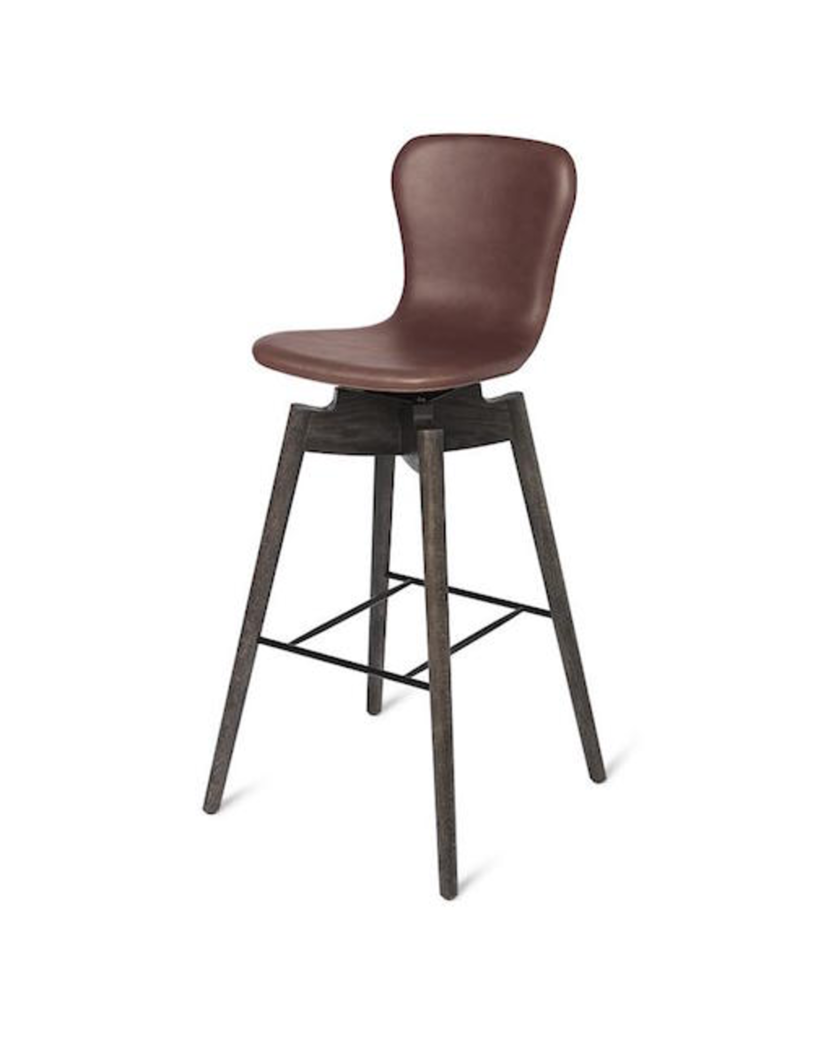 MATER SHELL BARSTOOL IN ULTRA COGNAC LEATHER