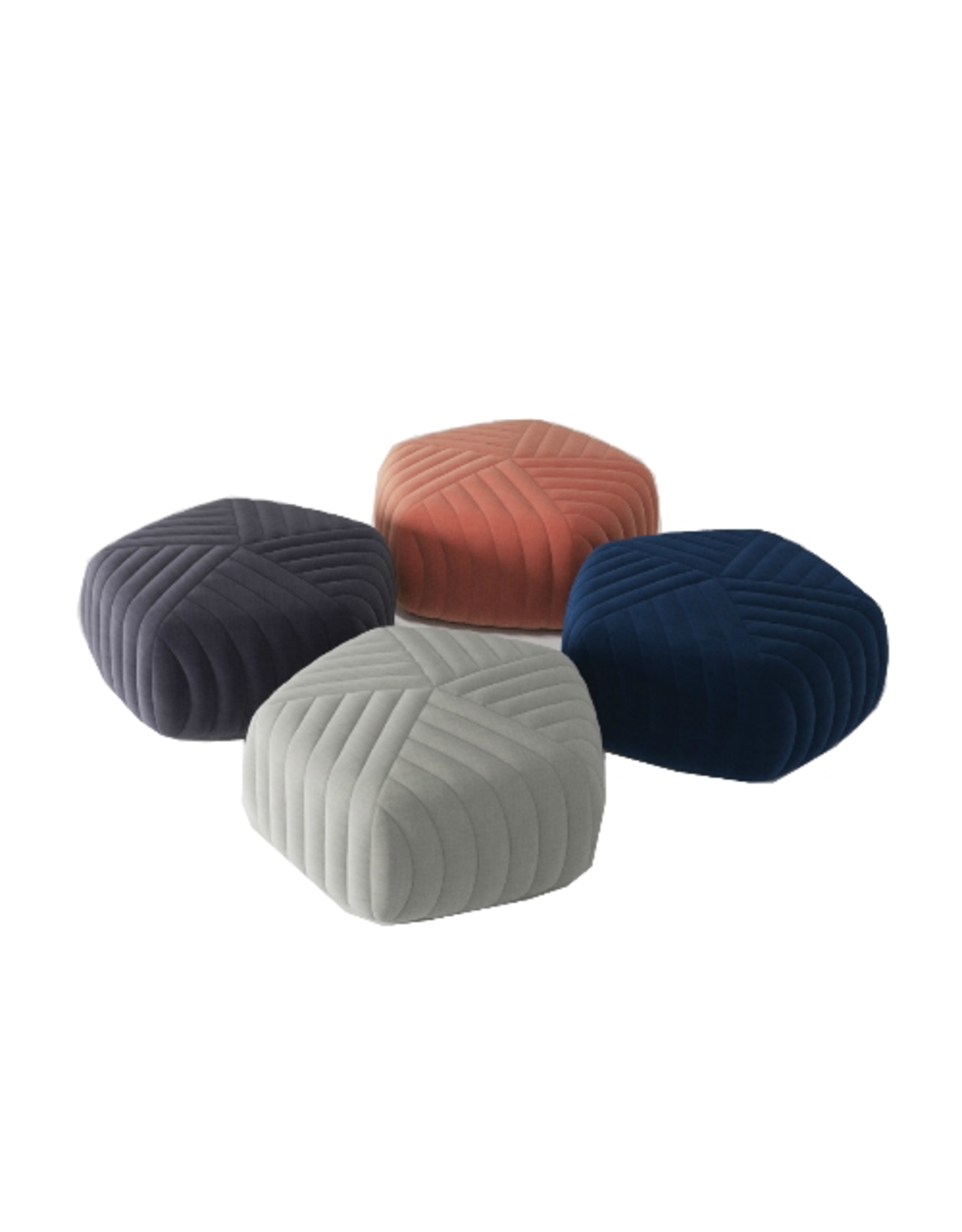 (DISPLAY) FIVE POUF IN REMIX FABRIC