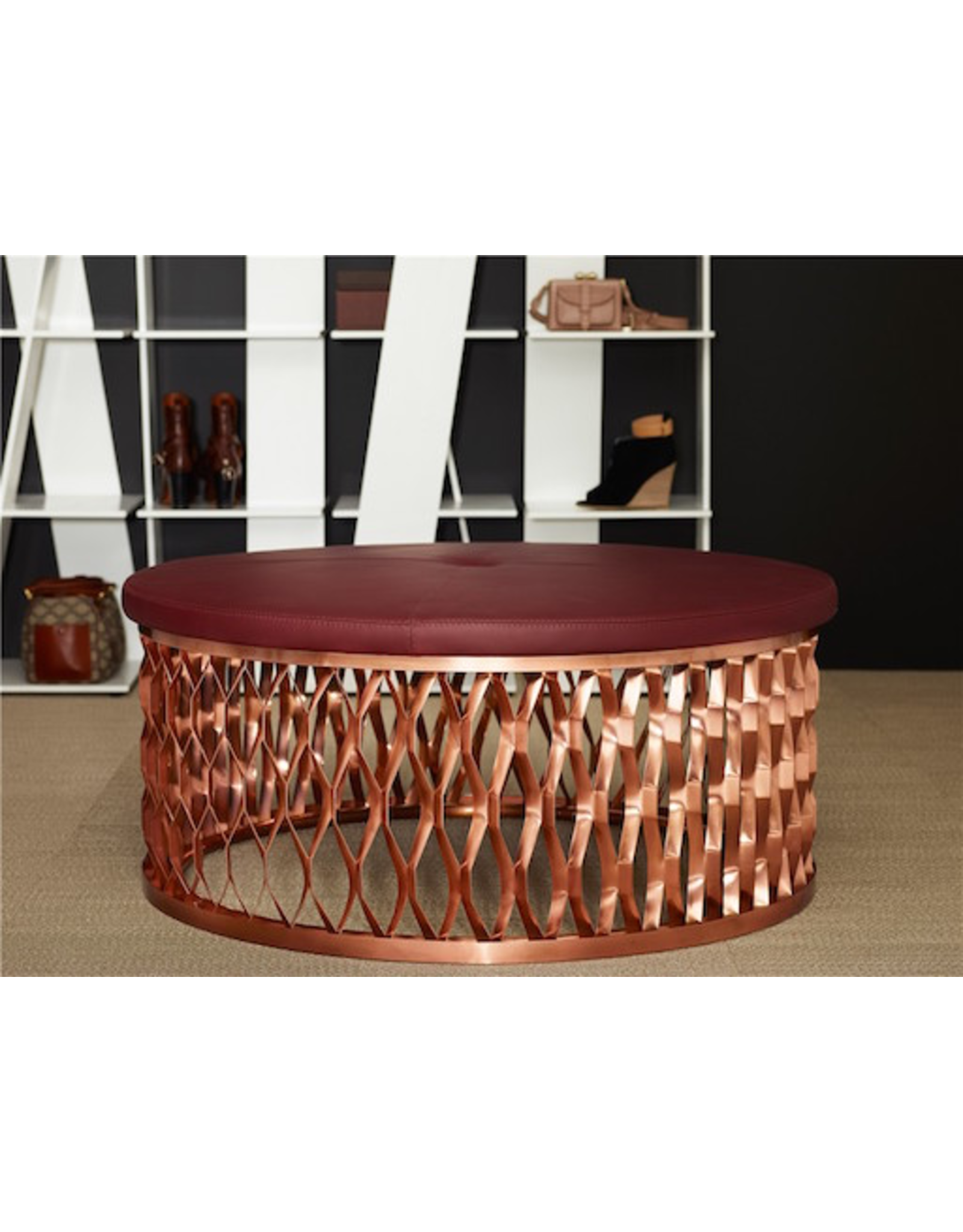 (DISPLAY) STEELO OTTOMAN EXTRUDED METAL BASE IN COPPER
