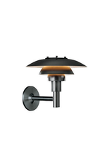 LOUIS POULSEN PH 3-2 1/2 OUTDOOR WALL LAMP, BLACK POWDER COATED