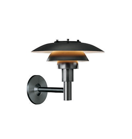 LOUIS POULSEN PH 3-2 1/2 OUTDOOR WALL LAMP, BLACK POWDER COATED