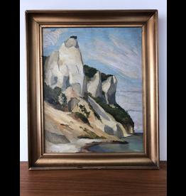 MANKS ANTIQUES 1925 白崖面有框油畫