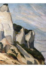 MANKS ANTIQUES 1925 FRAMED OIL ON CANVAS PAINTING OF WHITE CLIFF FACE