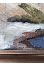 1925 FRAMED OIL ON CANVAS PAINTING OF WHITE CLIFF FACE