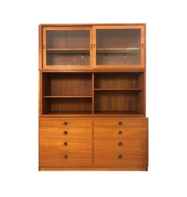 MANKS ANTIQUES 1950's TEAK DISPLAY & BOOKCASE WITH 8 DRAWERS