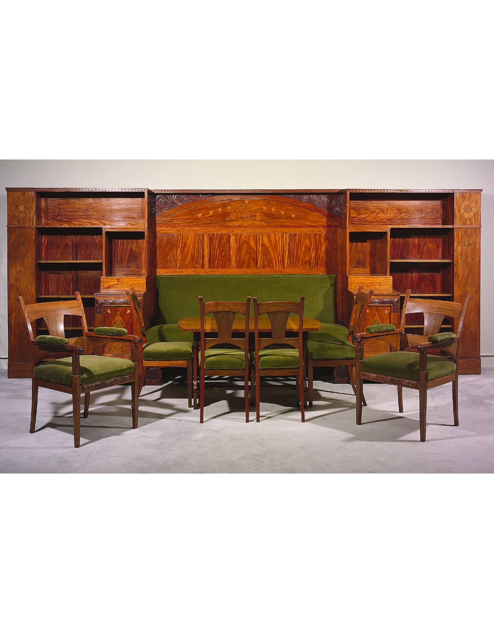 MANKS ANTIQUES ARTS AND CRAFTS LIBRARY SUITE