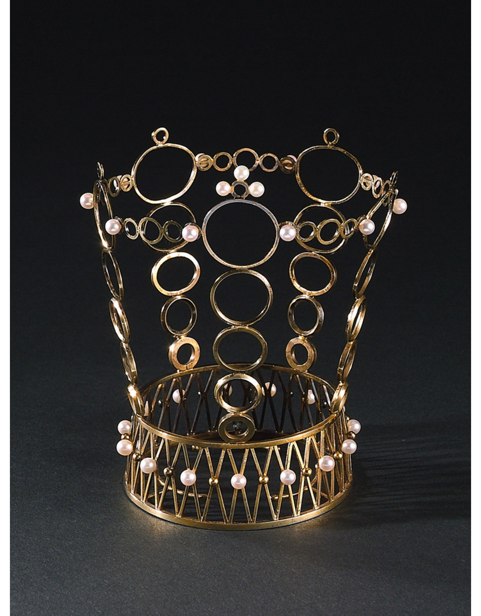 MANKS ANTIQUES VERMEILLE BRIDAL CROWN WITH SEED PEARLS