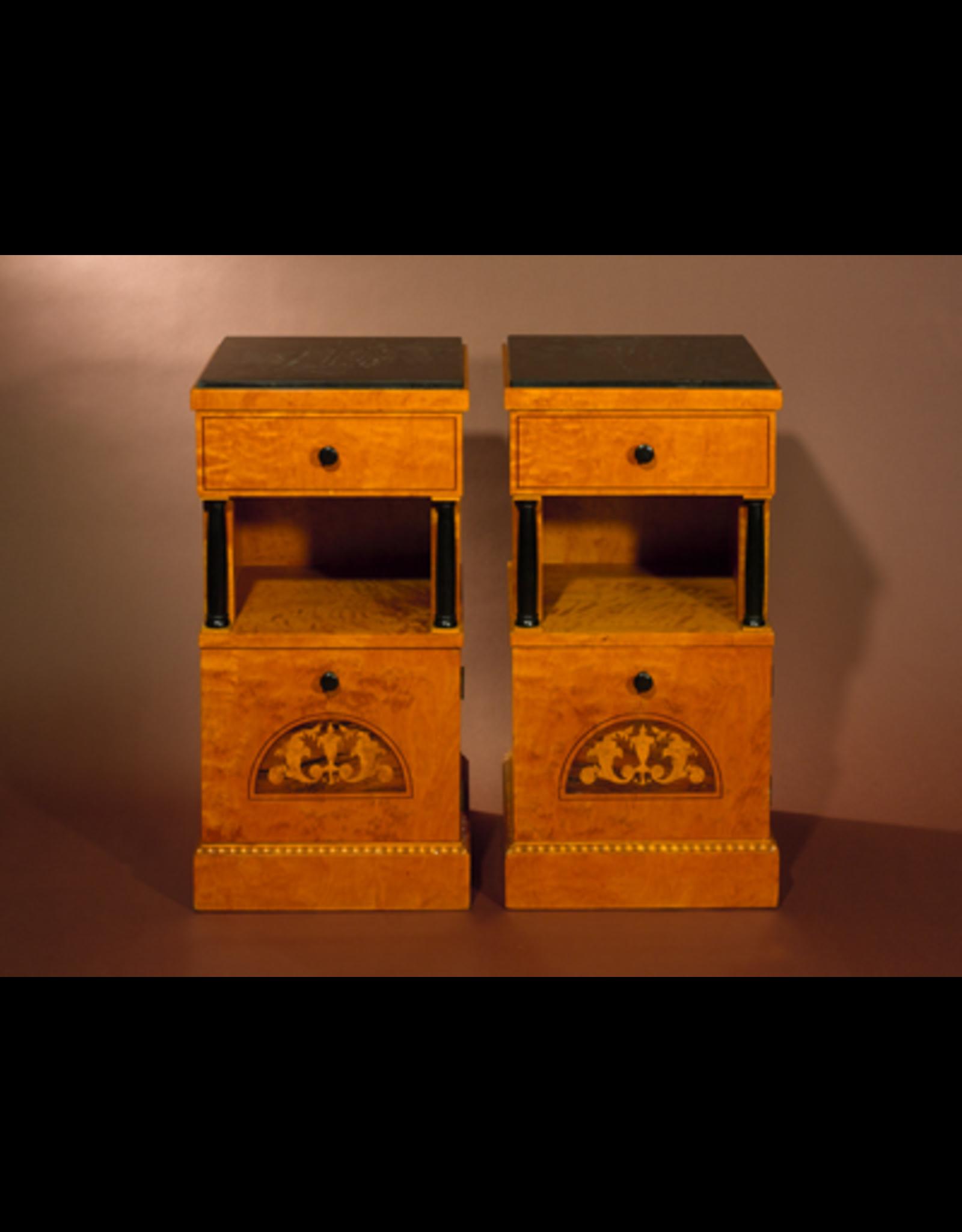 MANKS ANTIQUES PAIR OF BIEDERMEIER CABINETS WITH ROSEWOOD & SATINWOOD INLAYWITH ROSEWOOD & SATINWOOD INLAYSWEDEN  Circa 1910W39 x D38 x H77cm