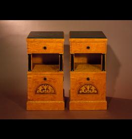 BIEDERMEIER CABINETS 比德迈式缎面镶嵌花梨木柜子一对