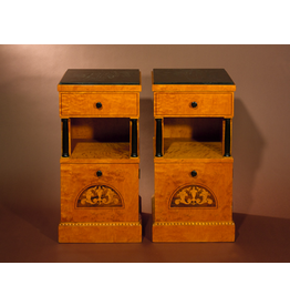 PAIR OF BIEDERMEIER CABINETS WITH ROSEWOOD & SATINWOOD INLAYWITH ROSEWOOD & SATINWOOD INLAYSWEDEN  Circa 1910W39 x D38 x H77cm