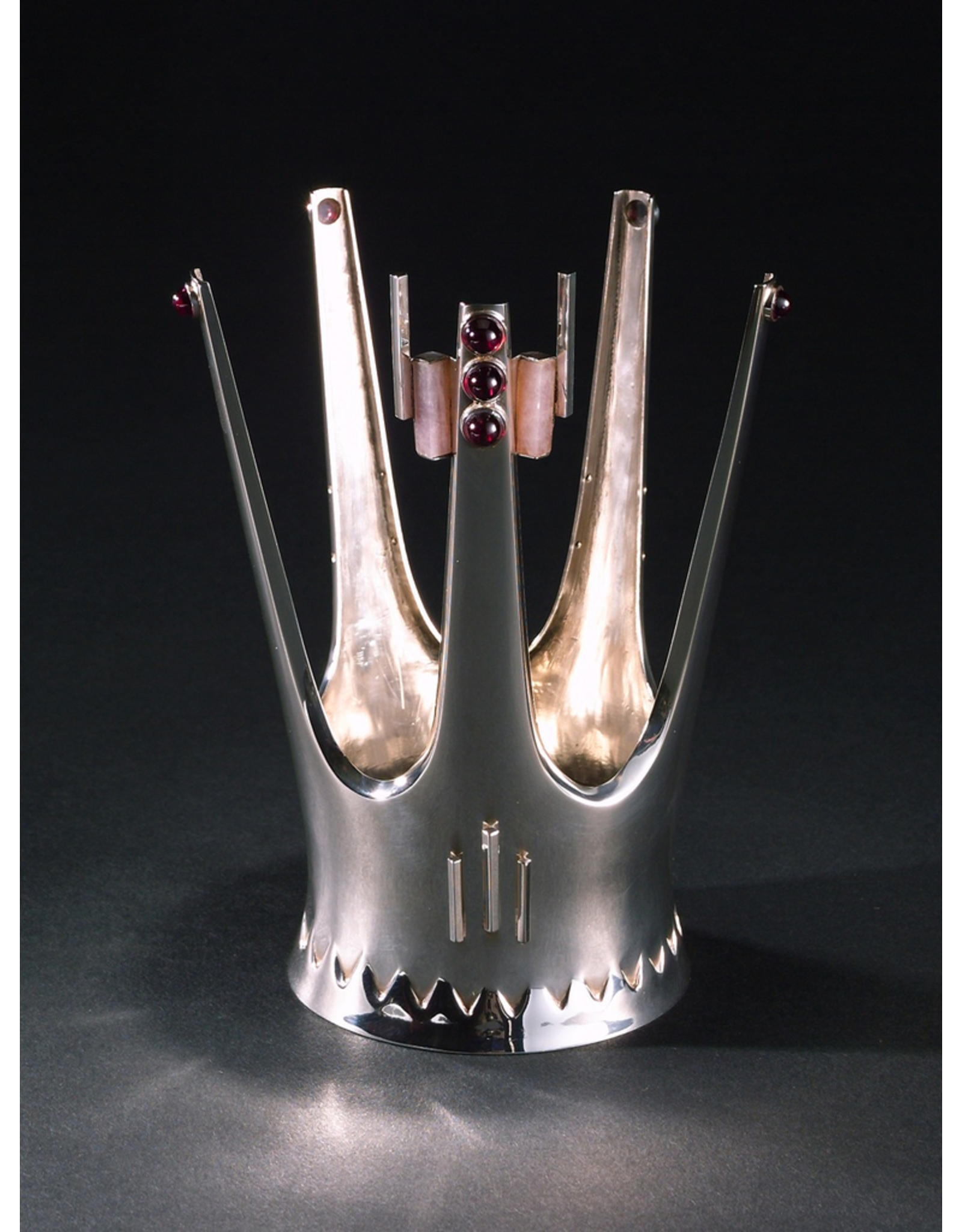 MANKS ANTIQUES FIVE-PRONGED SILVER BRIDAL CROWN