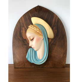 MANKS ANTIQUES C1930's CERAMIC WALL PLAQUE OF MADONNA