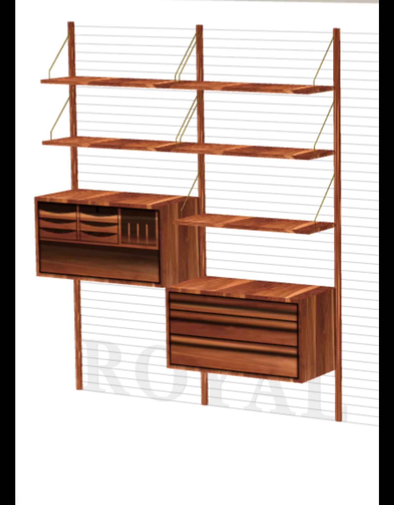 ROYAL SYSTEM 層架組合連工作桌及抽屜
