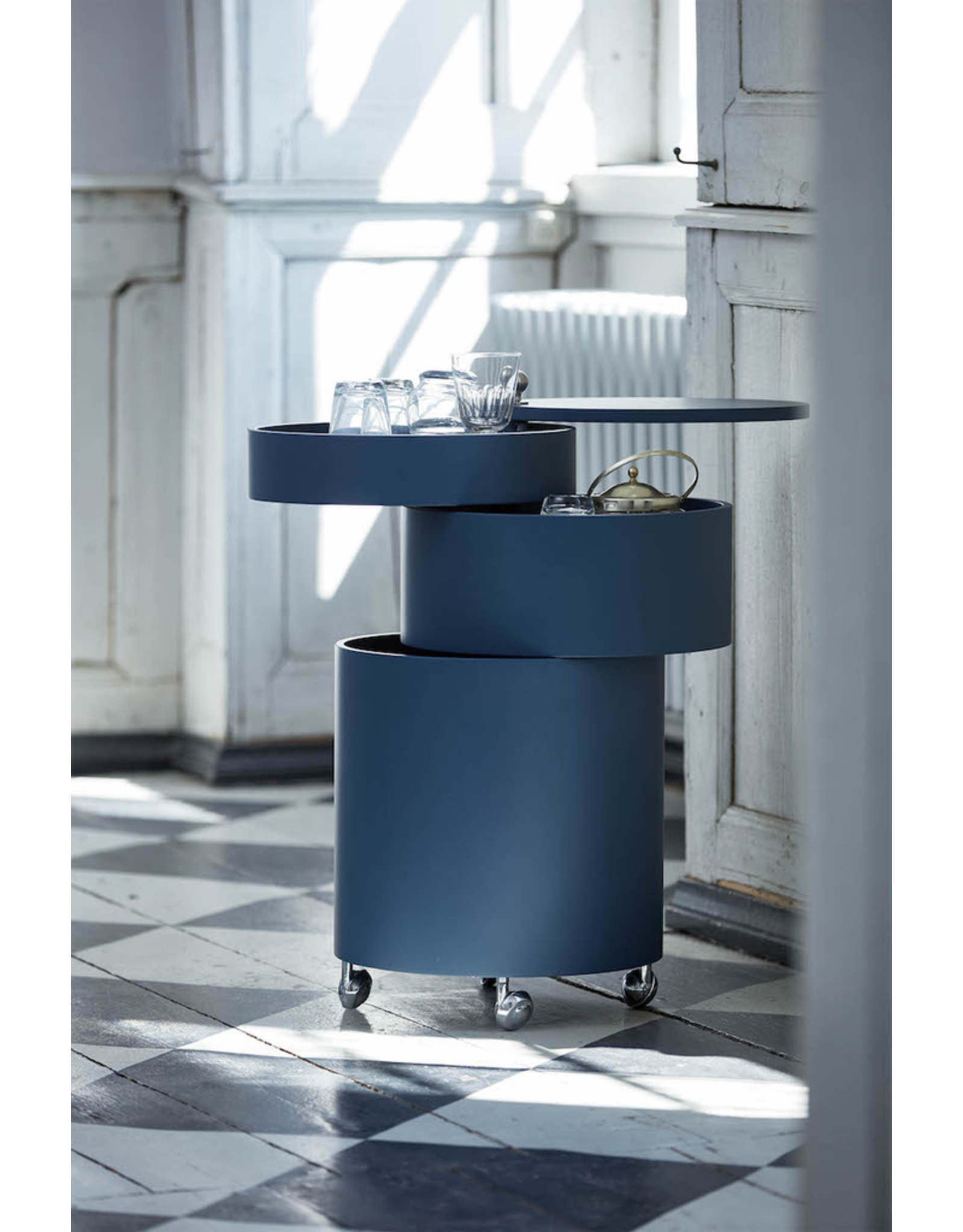 VERPAN BARBOY CYLINDRICAL BAR CABINET IN BLUE