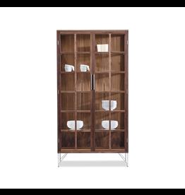 VITRINE 胡桃木鋼腳玻璃柜