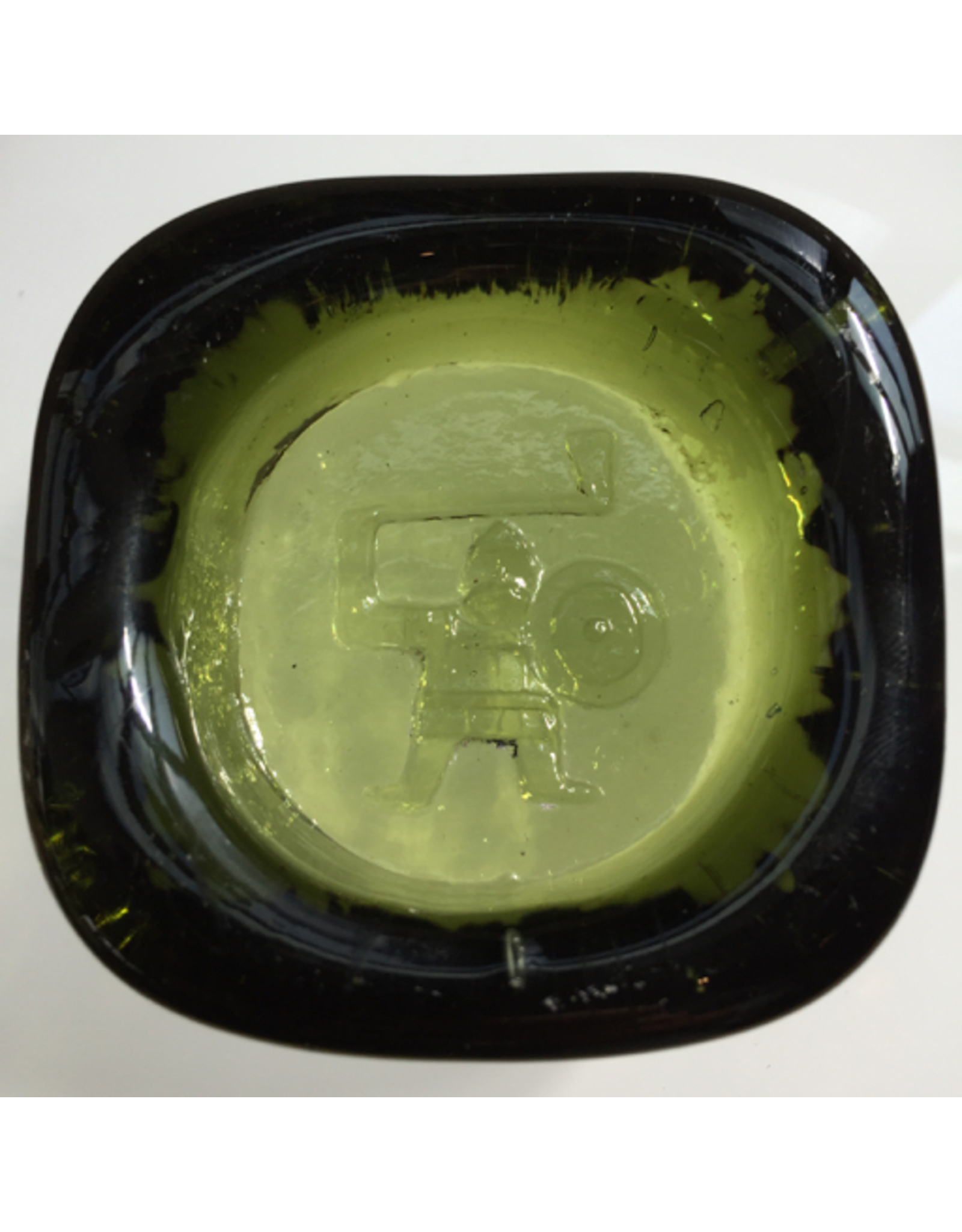 MANKS ANTIQUES GREEN GLASS VIKING ICON BY EIRK HOGLUND FOR BODA SWEDEN, W7 X L7 X D2CM