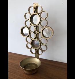 MANKS ANTIQUES 1960年代镜面黄铜蜡烛壁灯架