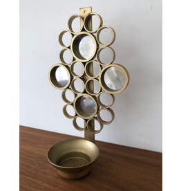 MANKS ANTIQUES 1960's MIRRORED BRASS CANDLE WALL SCONCE