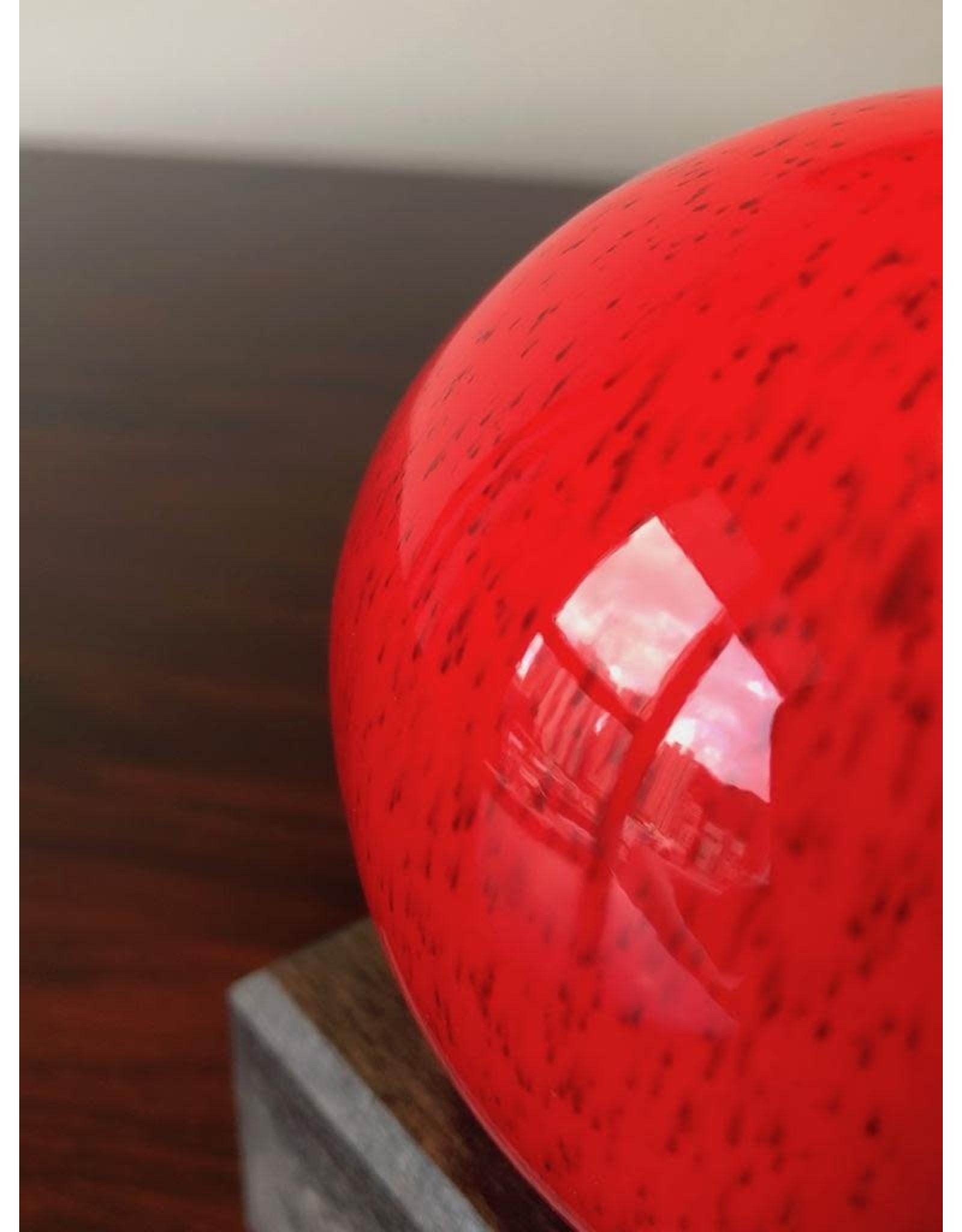 CERAMIC SIGNED RED GLAZED APPLE SCULPTURE