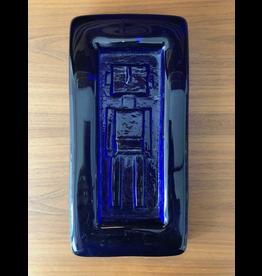 MANKS ANTIQUES HOGLUND COBALT BLUE GLASS PLAQUE