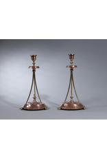 MANKS ANTIQUES PAIR OF ART DECO BRASS CANDLESTICKS WITH 3 BUN FEET