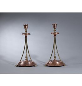 PAIR OF ART DECO BRASS CANDLESTICKS WITH 3 BUN FEET