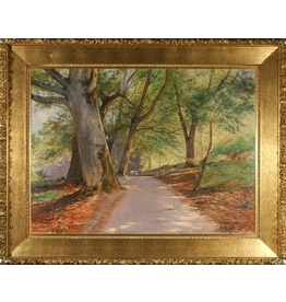 MANKS ANTIQUES DAPPLED LANE LINED WITH BIRCH TREES OIL IN CANVAS