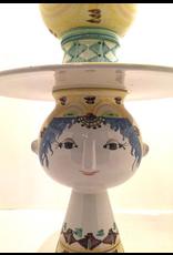 5件手绘陶瓷花瓶姑娘连宽边帽