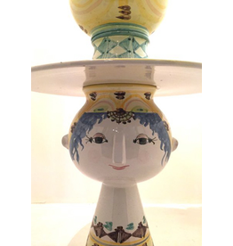 MANKS ANTIQUES 5PC HAND PAINTED CERAMIC VASE-MAIDEN W/ BRIMMED HAT