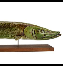 MANKS ANTIQUES CERAMIC SCULPTURE 游泳中的梭子鱼陶瓷雕塑