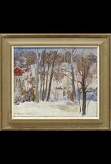 OIL ON BOARD 冬季景观油画连框
