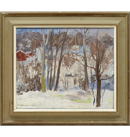 MANKS ANTIQUES OIL ON BOARD OF WINTER LANDSCAPE