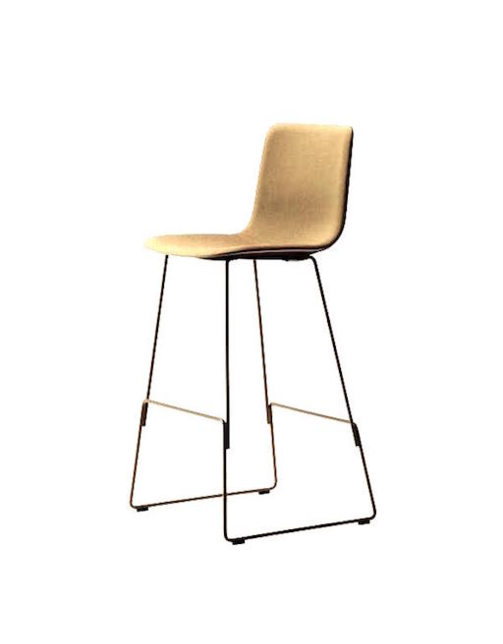 4302 PATO BARSTOOL, FULLY UPHOLSTERED IN WALNUT LEATHER