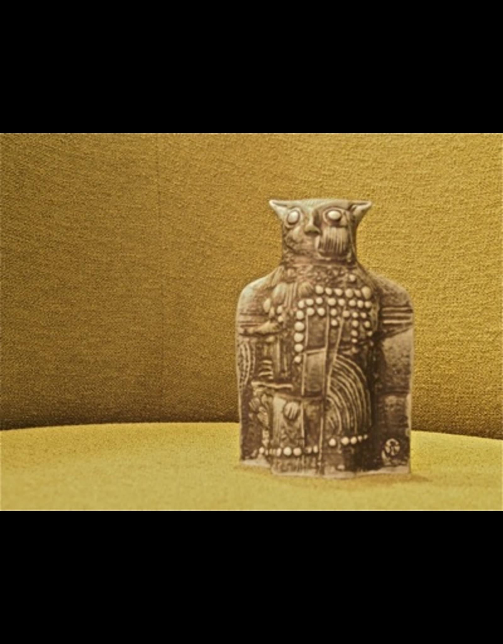 MANKS ANTIQUES CERAMIC SCULPTURE 黑猫头鹰的陶瓷雕塑