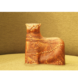 MANKS ANTIQUES CERAMIC SCULPTURE OF EARTH TONE CAT FROM TERRA SERIES