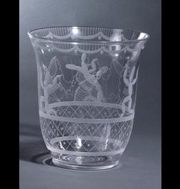 "MANKS ANTIQUES ETCHED GLASS ""CACTUS"" VASE"