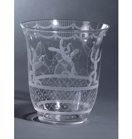 "MANKS ANTIQUES ETCHED GLASS 蚀刻玻璃""仙人掌""花瓶"