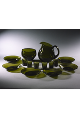MANKS ANTIQUES TUPA HAND-BLOWN MOSS-GREEN GLASS LIQUEUR SERVICE FOR SIXFINLAND, c1950