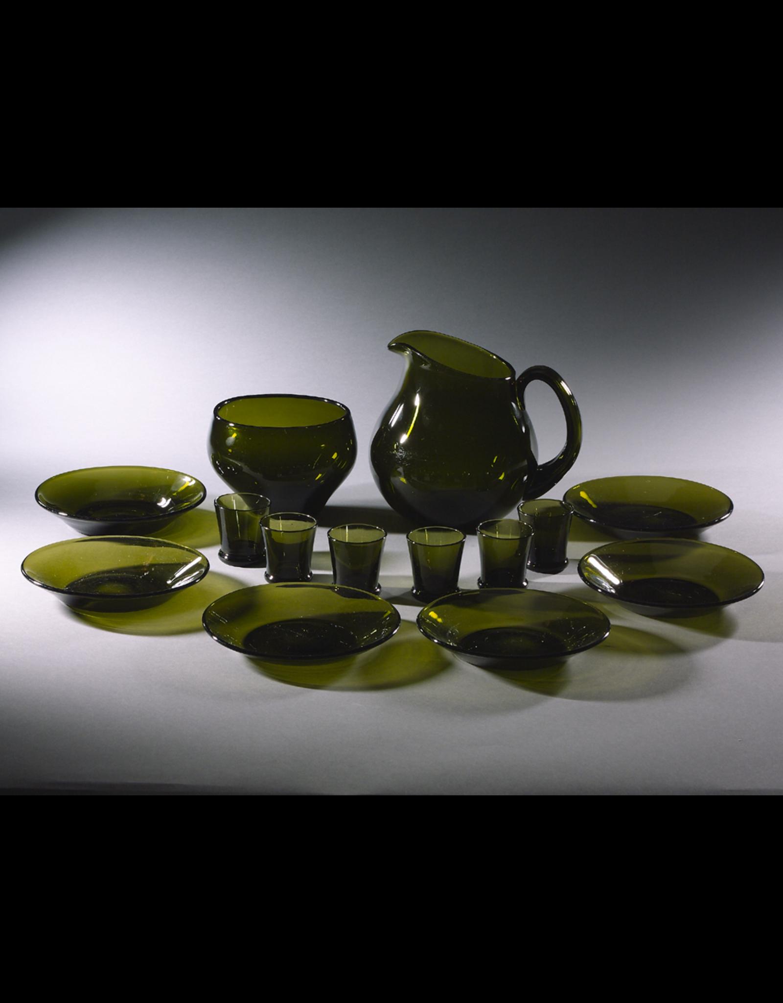 TUPA HAND-BLOWN MOSS-GREEN GLASS LIQUEUR SERVICE FOR SIXFINLAND, c1950