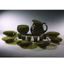 TUPA HAND-BLOWN MOSS-GREEN GLASS LIQUEUR SERVICE FOR SIXFINLAND, c1950