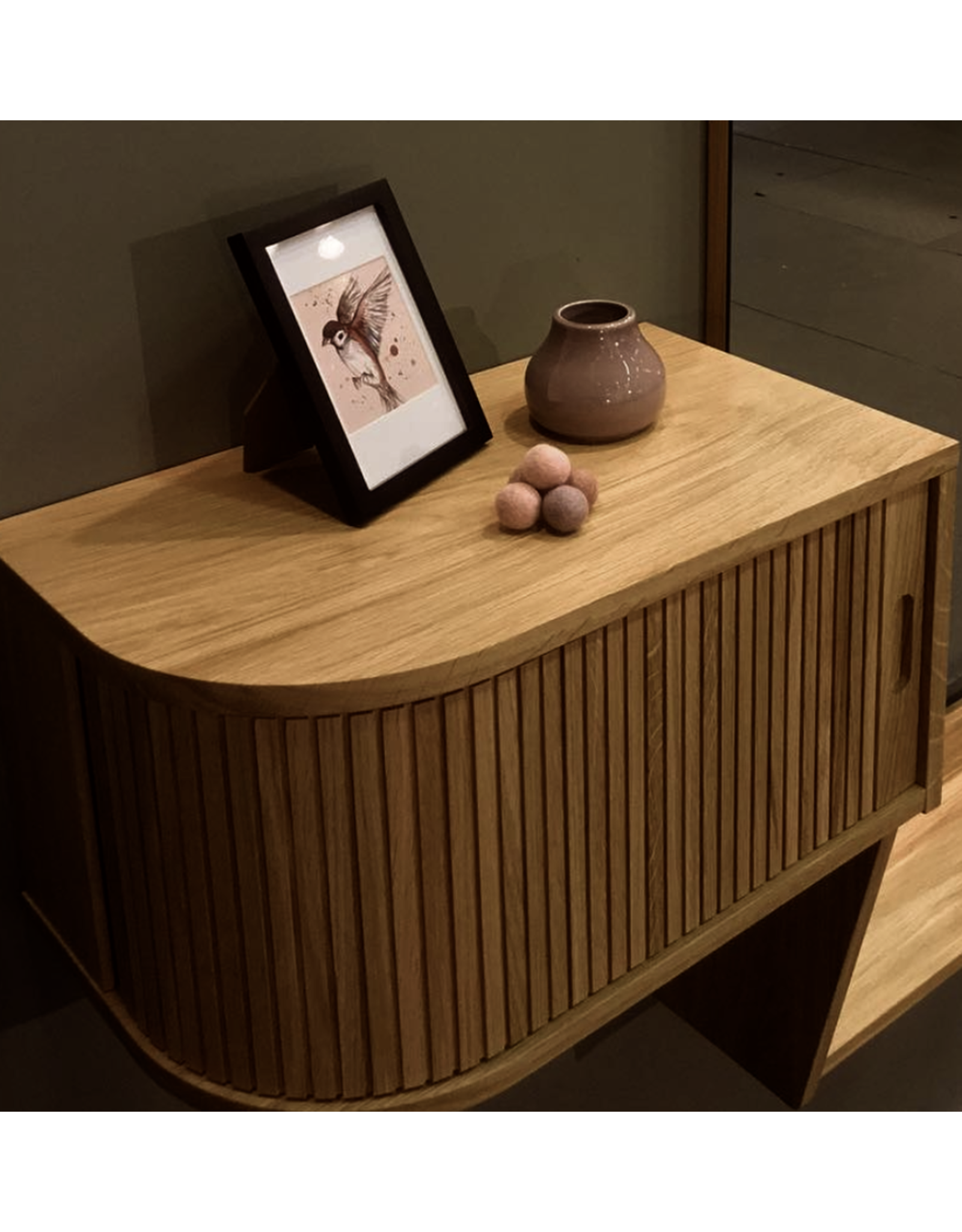 BERNH. PEDERSEN & SØN TAMBOUR FRONT NIGHT STAND IN WALNUT