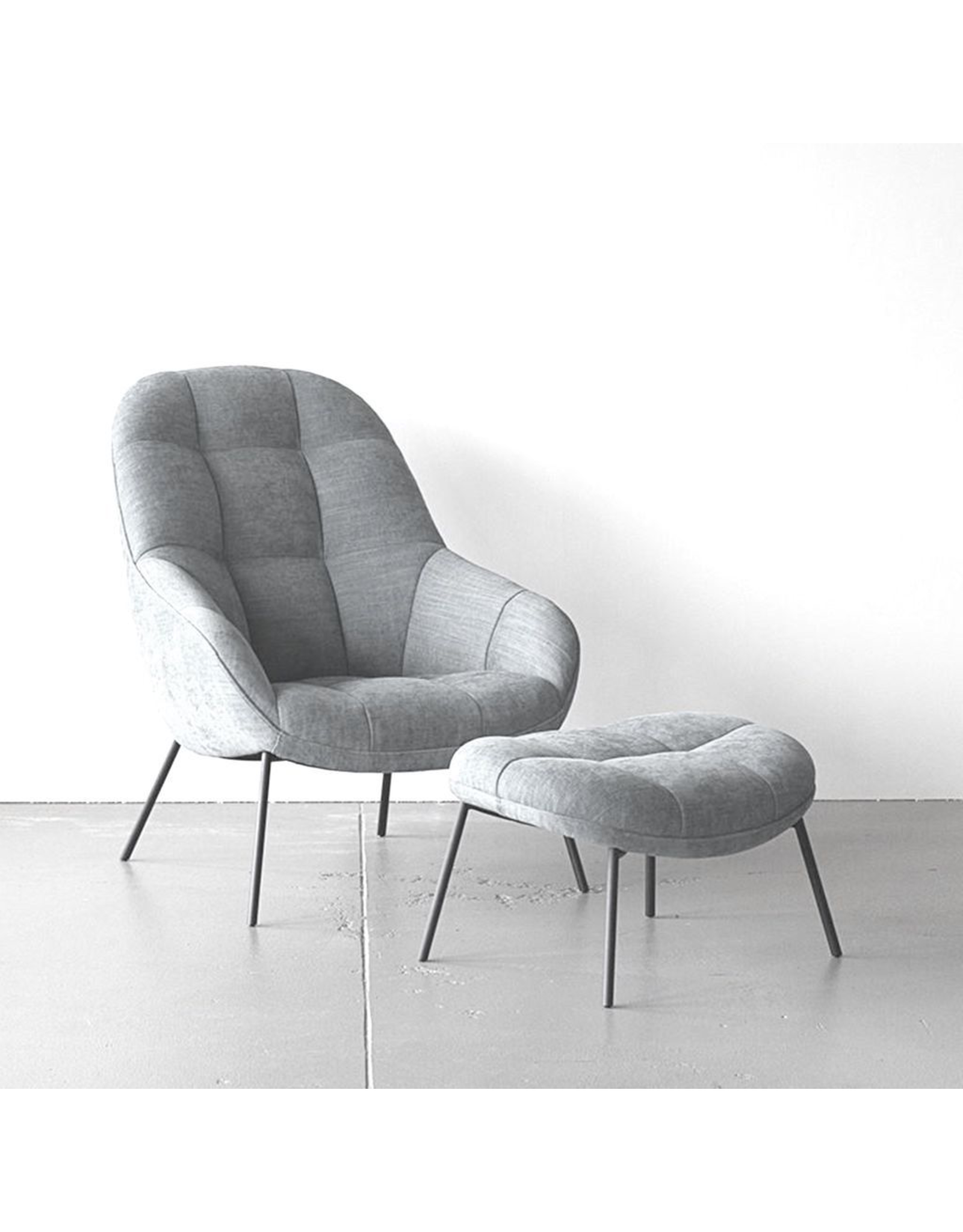 WON DESIGN MANGO LOUNGE CHAIR WITH FOOT REST IN LIGHT GREY