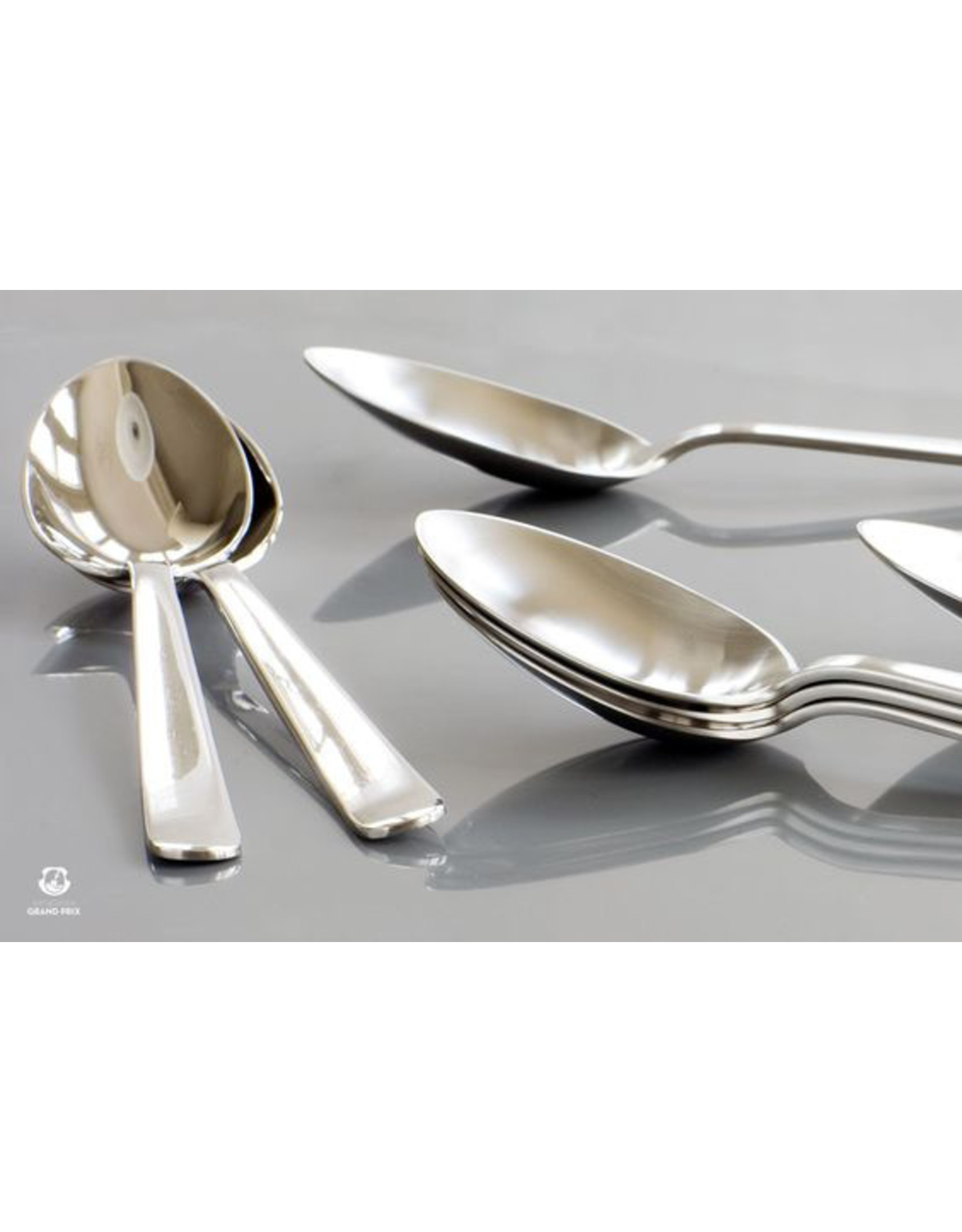 KAY BOJESEN GRAND PRIX STAINLESS STEEL CUTLERY SET OF 6 SOUP/ PUDDING SPOONS MATTE FINISH