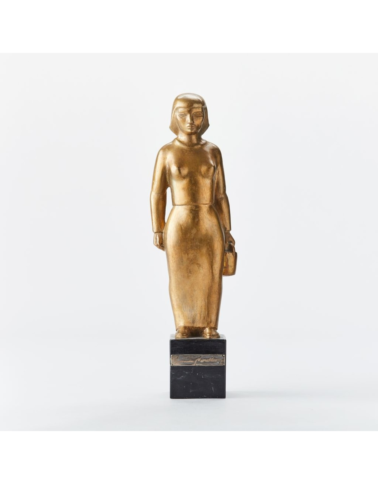 """MANKS ANTIQUES 1920s GOLD PLATED BRONZE OF """"WOMAN WITH PAIL"""" ON WOODEN STAND"""