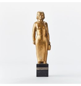 """1920s GOLD PLATED BRONZE OF """"WOMAN WITH PAIL"""" ON WOODEN STAND"""
