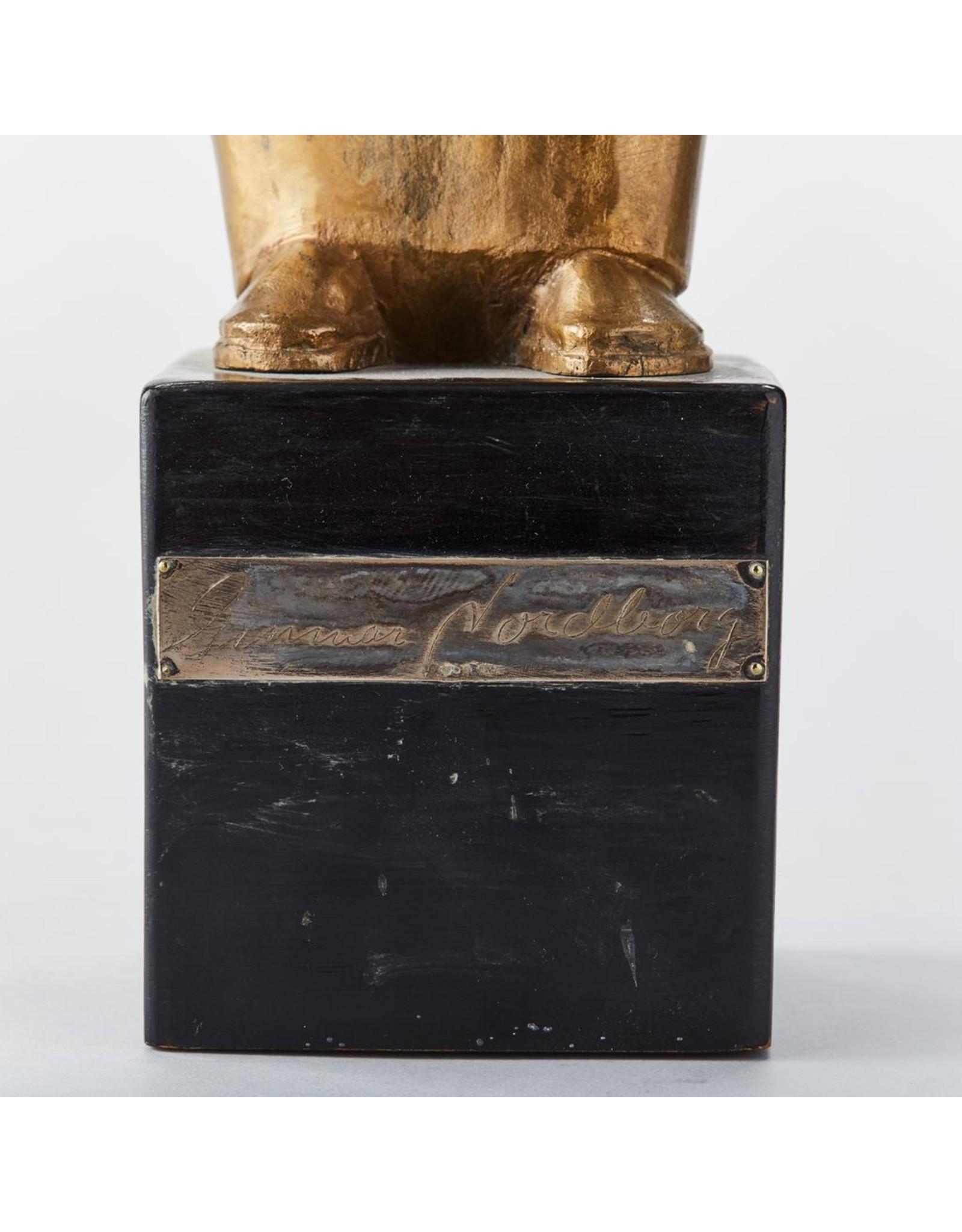 "MANKS ANTIQUES 1920年代木架上的""女人与桶""镀金青铜像"