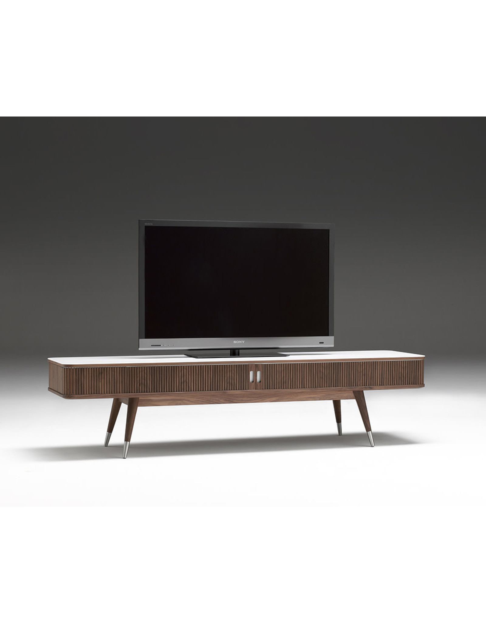 AK 2720 TV UNIT IN WALNUT WITH STAINLESS STEEL CAPS