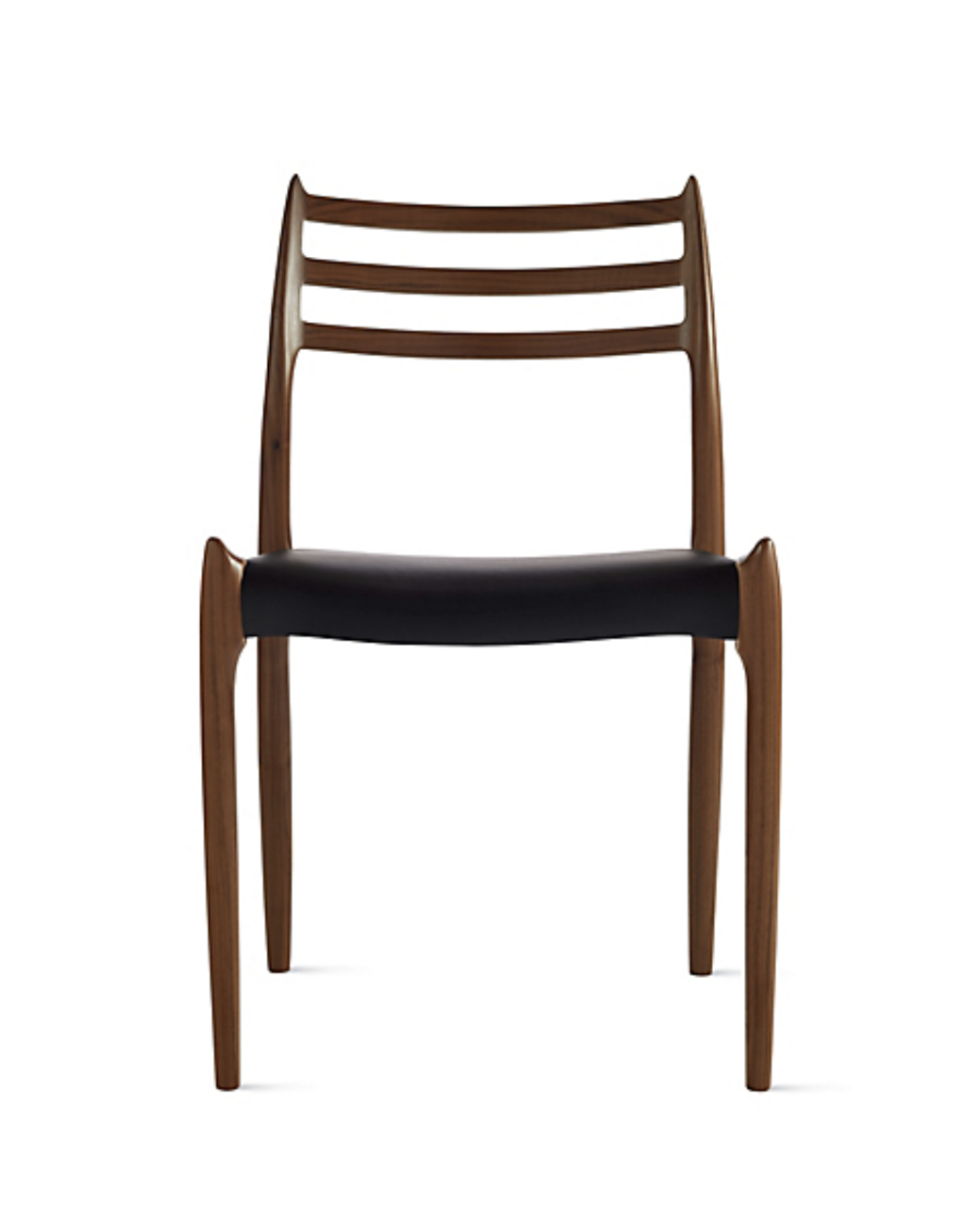 (DISPLAY) 1960'S PALISANDRE MODEL 78 DINING CHAIR WITH BLACK LEATHER SEAT BY NILS MOLLER